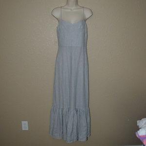 Sz 6 Intermix Blue White Striped Maxi Dress